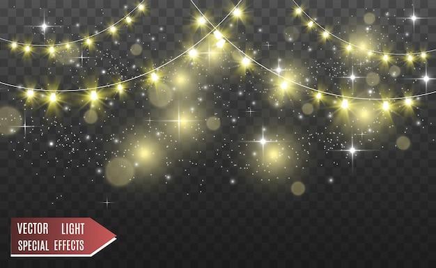 Natal brilhantes, belas luzes, elementos. luzes brilhantes para cartões de natal. guirlandas, decorações de natal de luz.