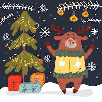 Natal cervos floresta inverno animal comemoração ano novo