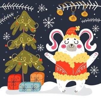 Natal coelho coelho floresta inverno animal comemoração ano novo