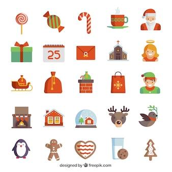 Natal colored coleção ícones