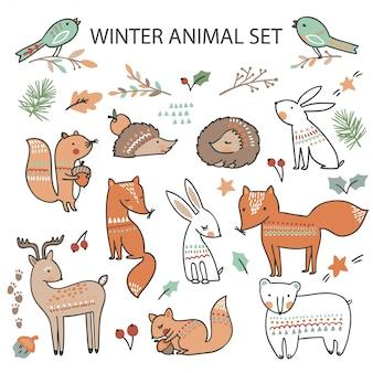 Natal com animais fofos da floresta