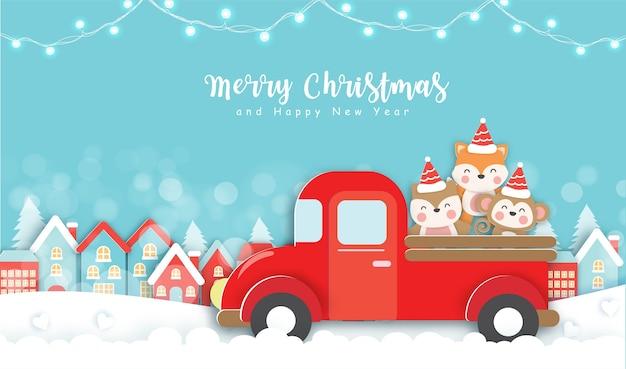 Natal com animais fofos em estilo de corte de papel.