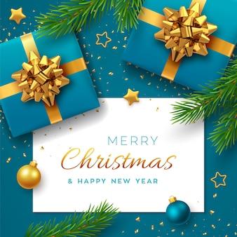 Natal com banner de papel quadrado, caixas de presente azuis realistas com laço dourado