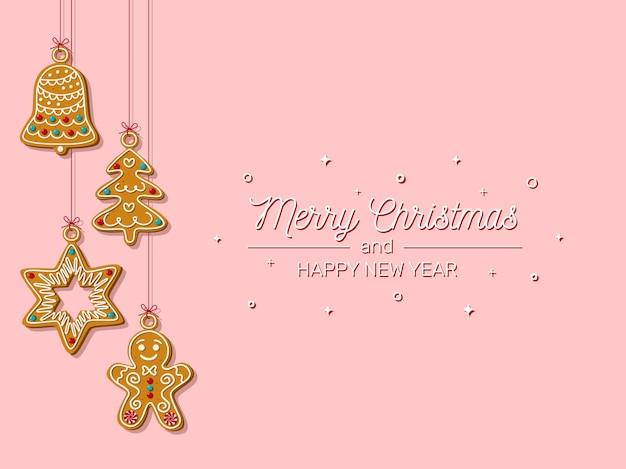 Natal com biscoitos caseiros pendurados em um fundo rosa biscoitos caseiros