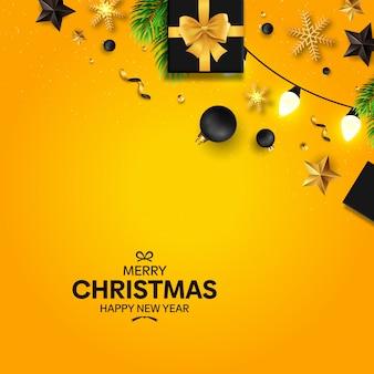 Natal com decoração preta e amarela