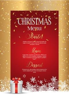 Natal com design de menu elegante