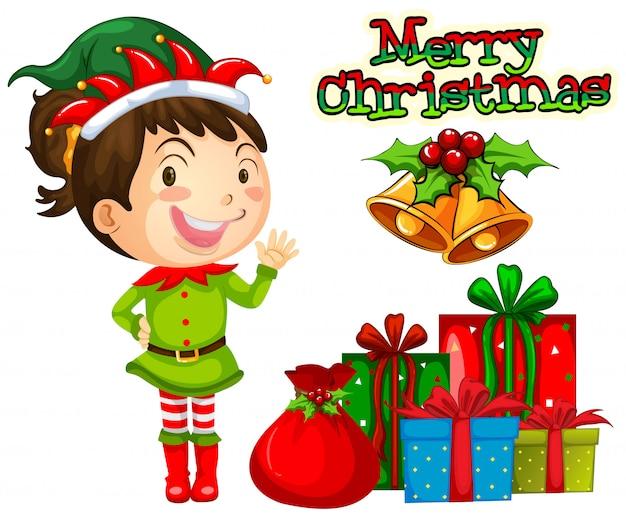 Natal com duende e pilha de presentes