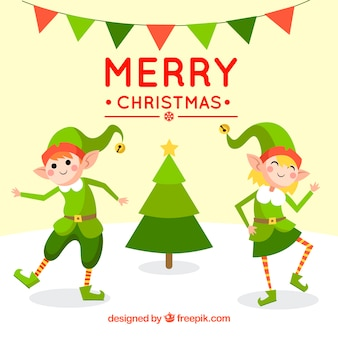 Natal com elfs felizes