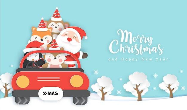 Natal com fofo papai noel e amigos localização em um estilo de corte de papel carin vermelho.