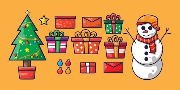 Natal com ilustração plana