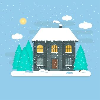 Natal com inverno casa, casa, floresta e flocos de neve brancos cintilantes