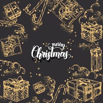 Natal com mão desenhada doodle presentes, doces, glitter e serpentina. saudação feita à mão citação