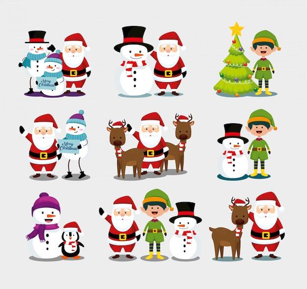 Natal com papai noel e conjunto de caracteres