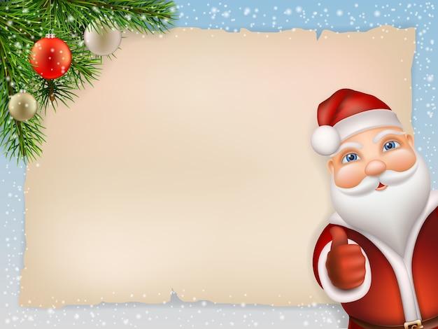 Natal com papai noel e ramo de abeto, bola de natal decorada. o fundo é uma folha de papel velha e flocos de neve. papai noel espreitando e mostra o polegar.