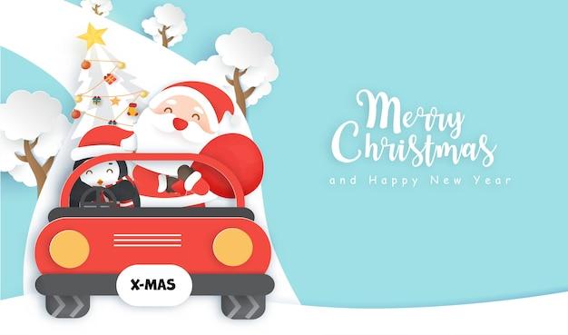 Natal com papai noel fofo e localização do pinguim em um carro vermelho.