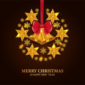Natal com sino de ouro e estrela