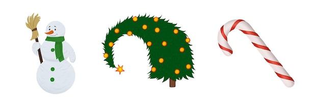Natal conjunto boneco de neve com um lenço árvore de natal com bolas e bengala de caramelo