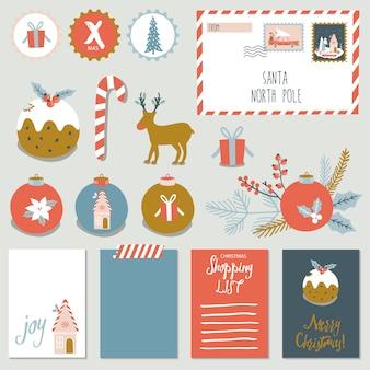 Natal conjunto com adesivos e cartões.