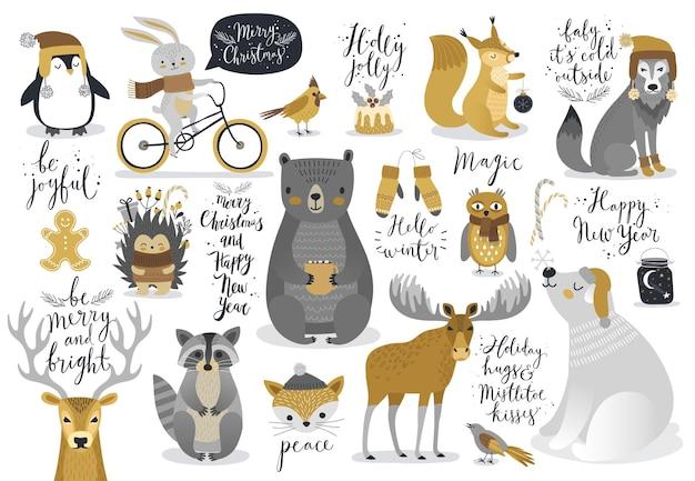 Natal conjunto de animais de caligrafia de estilo desenhado à mão e outros elementos