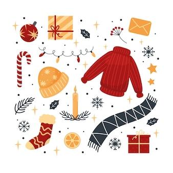 Natal conjunto de roupas presentes flocos de neve plantas ilustração para cartões web banners adesivos