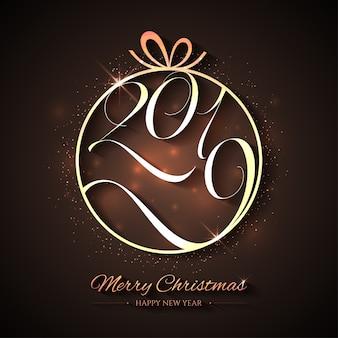 Natal criativo e feliz ano novo com uma bola de ouro