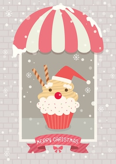 Natal, cupcake, café, papai noel