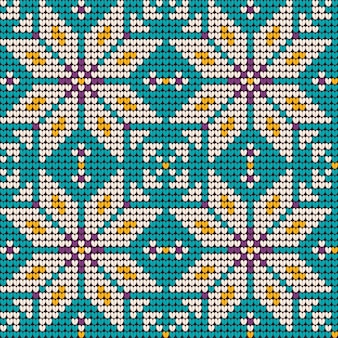 Natal da avó tricô padrão em cores de hortelã e lavanda