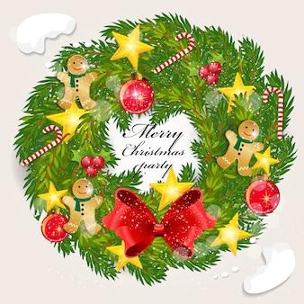 Natal da grinalda da decoração pelo ano novo feliz 2019.