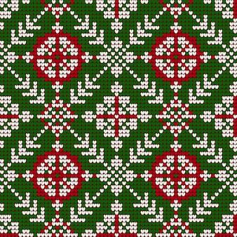 Natal da vovó, tricô padrão nas cores vermelhas, verdes e brancas
