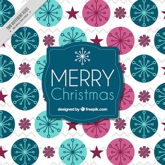 Natal de fundo de círculos com flocos de neve