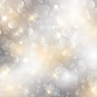 Natal de fundo decorativo com flocos de neve e estrelas