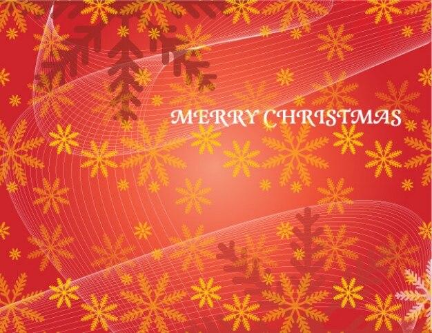 Natal de fundo vermelho vetor com flocos de neve e linhas de fluxo