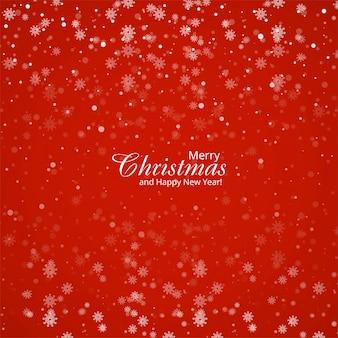 Natal de grandes e pequenos flocos de neve em cores vermelhas