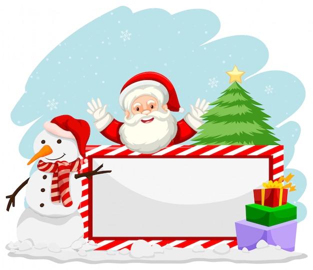 Natal de inverno com banner de papai noel