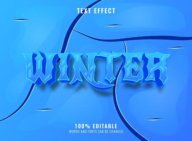 Natal de inverno com efeito de texto editável de fundo de gelo