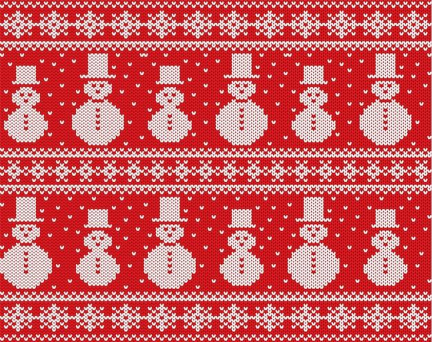 Natal de malha com bonecos de neve e flocos de neve. ornamento sem costura de malha geométrica.