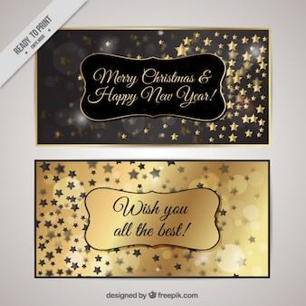 Natal de prata e placas de ouro com estrelas
