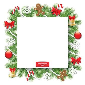 Natal decorada moldura quadrada.