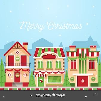 Natal decorado fundo da cidade