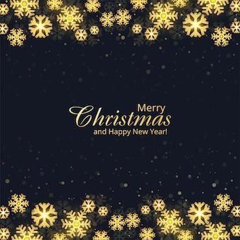 Natal decorativo de flocos de neve dourados