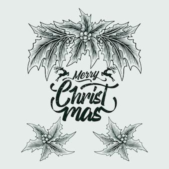 Natal desenhado à mão folhas de azevinho saudação modelo estilo vintage ilustração