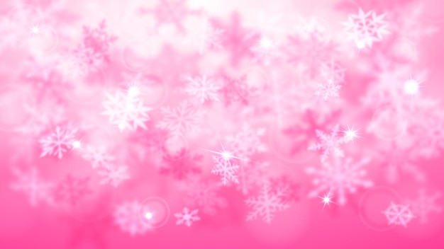 Natal desfocado de fundo desfocado de flocos de neve grandes e pequenos caindo em cores rosa com efeito bokeh
