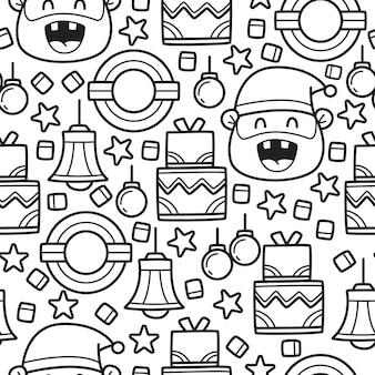 Natal doodle padrão sem emenda