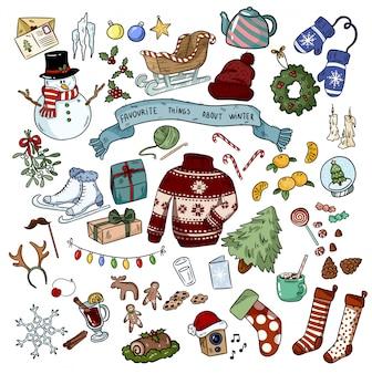 Natal doodles objetos de etiqueta