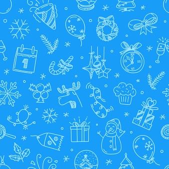 Natal doodling padrão vetorial sem emenda