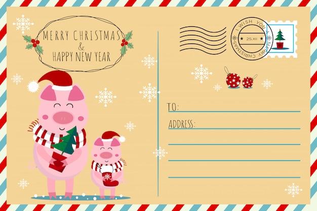 Natal dos leitão dos porcos e ano novo cartão postal