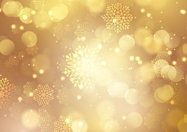 Natal dourado com flocos de neve e design de luzes bokeh