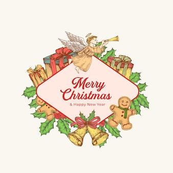 Natal e ano novo cartão colorido com banner de quadro de losango e tipografia fofa. rótulo de saudações de férias de temporada ou layout de adesivo com anjo desenhado de mão, azevinho e presentes. isolado.