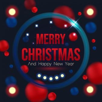 Natal e ano novo cartão em fundo preto