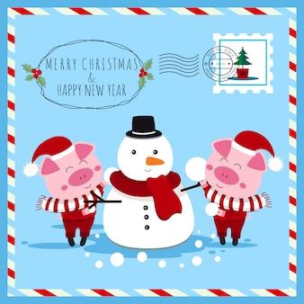 Natal e ano novo cartão